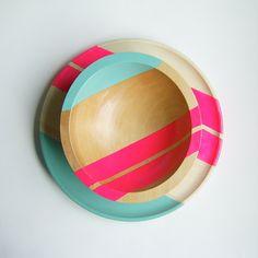 Modern Neon Hardwood Plate and Bowl