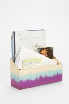 Get organized with this fun dip-dye letter holder! #backtoschool #dorm #office #urbanoutfitters