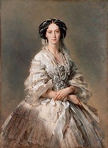 Maria Alexandrovna, Empress consort of all the Russias, lived 1824-1880. Born Marie of Hesse, daughter of Louis II of Hesse and Wihelmine of Baden, the youngest sister of the Empress Elizaveta Alexeievna. Mother of Alexander III. The Mariinsky Theater is named after her. (Portrait by Franz Xaver Winterhelter.)