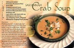 """Savannah Crab Soup....""""She loves Crab Soup""""!"""