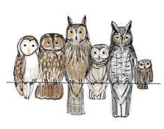 """A Bundle of Owls Vintage Kitsch Art Print 6x4"""""""