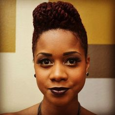 Love this style, hair color, and lip stain - My Natural Sistas : Two Strand Flat Twist Pomp Updo