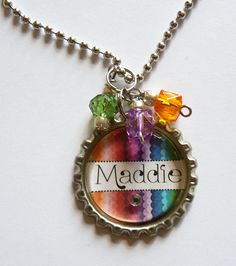 Personalized Bottle cap Necklace birthday, party, favors, party favors, rainbow friend charm big sister bff gift present cute fun