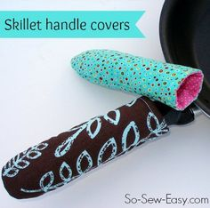 10 minute sewing project!  Make these easy handle covers for your hot pans.  Great for scraps.