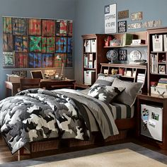 teen boys bedroom, bedding camo