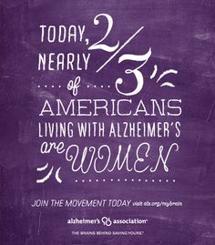 2/3 of Americans living with Alzheimer's are women. www.alz.org/mybrain