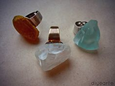 DIY tumbled glass or stone rings.
