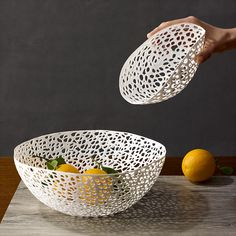 Netzwerk Bowl by Hedwig Rotter: Wonderfully flexible, handmade of lightweight thermoplastic material, injected into an intricate mold , each is unique. Wipe clean. #Bowl #Netzwerk #Hedwig_Rotter