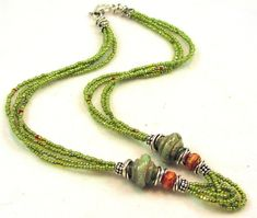 Lime Grass Green Lampwork, Czech Glass, Seed Bead and s/s Necklace by palefire designs