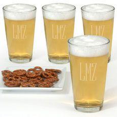 Monogrammed Micro Brew Glass Set brew glass, glass set