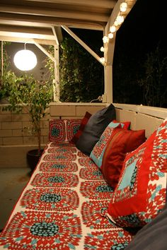 outdoor porch, bench, color patterns, outdoor room, hous, backyard, outdoor spaces, deck, bright colors