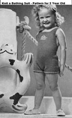 Vintage knitting patterns from the 1940's-50's. Patterns include complete instructions and photos. 2 Patterns included are Knit a Bathing suit for a 2 year old using thread or cotton yarn. The second pattern is a water baby suit for 2 to 4 year old using a sport or sturdy yarn. When knitting a bathing suit be sure to check if yarn is durable enough to hold up when swimming or make the swimsuit for outside play.This is a PDF Download