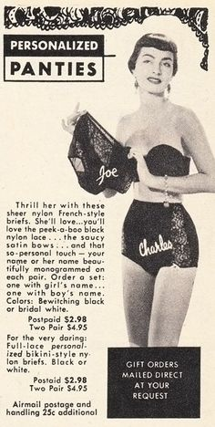 (via Vintage Scans: Personalized Panties)    From Frolic, December 1954.