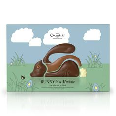 Easter Bunny in a Muddle - Have a little fun putting back together this chocolate Easter bunny puzzle, made from 40 percent milk, high-cocoa white and caramel chocolate. #easterbunny #chocolate