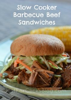 Slow Cooker Barbecue Beef Sandwiches | via @Sheila S.P. S.P. Johnson and @K D Eustaquio at Just For Clicks Blog - yum!