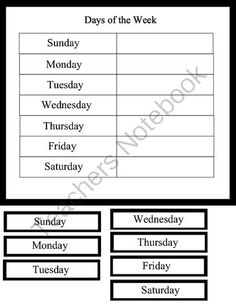 Days of the week from I Believe in Montessori on TeachersNotebook.com -  (1 page)  - This is free and easy material to use.