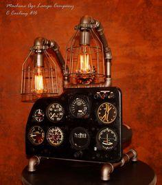 Steampunk Lamp, Vintage Cessna Avionics instrumentation panel #CC16