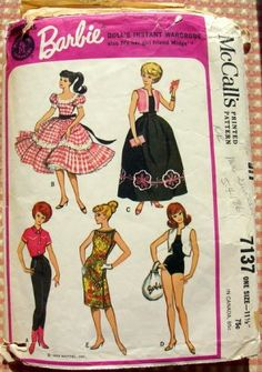 Barbie Doll Instant Wardrobe Vintage Sewing Pattern McCall's 7137