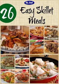 26 Easy Skillet Meals - Including dinner recipes with chicken, beef, pork, pasta, and seafood!