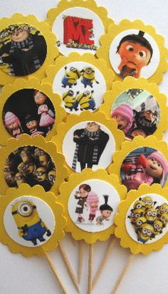 Despicable Me Cupcake Toppers/Party Picks by CakeToppersAndBeyond, $6.00