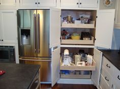 Pull-out pantry drawers using Kreg Jig.  I would so love to do this.