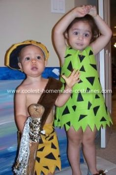 Pebbles and Bam Bam Costume: I've always loved the characters Pebbles and Bam Bam, and I thought it would be so cute to dress my little ones up as them this year, this might be the