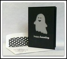 Stampin' Up! ... handmade Halloween card ... black front with negative die cut out little ghost ... lined envelope to match ... cute card!