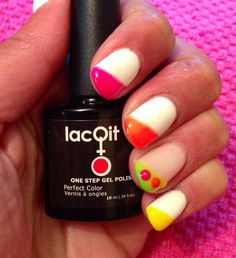 The New LacQit poolside/beach colors pop on LacQit's Its a Whiteout . See us and the new colors at www.lacqit.com   One step no-wipe 30 second dry Gel Polish