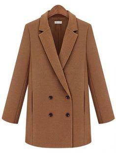 Camel Notch Lapel Long Sleeve Double Breasted Coat