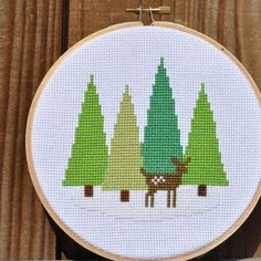 Adorable little forest and fawn cross stitch scene. #cross #stitch #hoop #needlework #embroidery #crafts #deer #fawn #cute #sewing