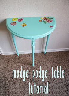 mod podge side table tutorial