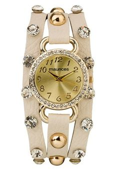 Ivory Faux Leather Rhinestone and stud wrap watch (original price, $24) available at #Maurices