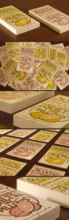 Letterpress Lemonade Business Cards - http://creattica.com