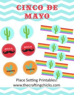 Cinco De Mayo Place Setting Printables, napkin rings, Cupcake Topper circles - PDF saved. X