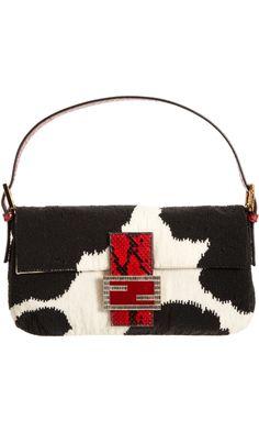 Fendi Python Beaded Baguette Bag
