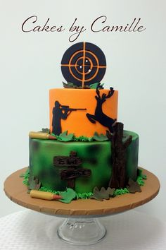 Hunter (hunting) Grooms Cake with target, deer, and rifle shells