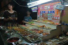 Eating street food Butterworth, Malaysia