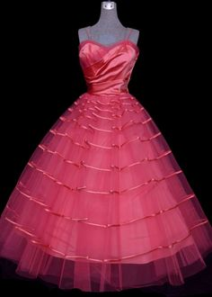 RESERVED RESERVED 1950s Dress Hot Pink Satin by VintageDevotion