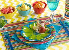 pool parties, set idea, tablecloth, party table settings, soft colors, pools, monkey, tabl set, crayon box
