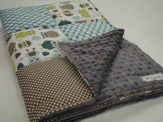 Modern Owls Patchwork Baby Blanket