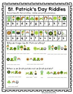 St. Patricks Day Fun Language Arts Packet.  Fun and easy to use! $
