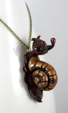 Polymer Clay Garden Snail Necklace