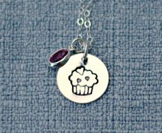 Cupcake Necklace Hand Stamped Sterling by 3LittlePixiesShoppe, $30.00