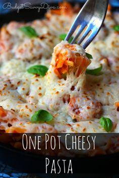 SOOOOO Cheesy!!!! If you like cheese you will LOVE this recipe!!! Must Pin and Make - done in under 30 minutes - One Pot Cheesy Pasta Recipe #recipe #cheese #cheesy #pasta #onepot #easy #budgetsavvydiva via budgetsavvydiva.com