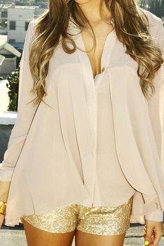 blush chiffon blouse