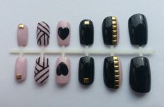 Pink and Black Studded Nails!