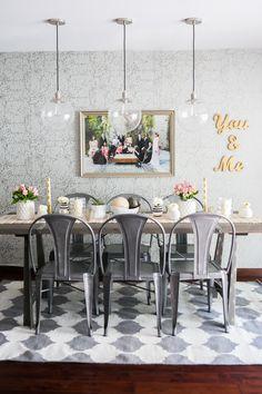 Sleek grey & white dining room