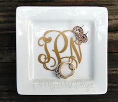 Petite Monogram Jewelry Dish by OhMyWordDesigns on Etsy, $11.00