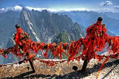 mountains, lotus, red, shaanxi provinc, china shaanxi, ribbon, huashan mountain, earth, hiking