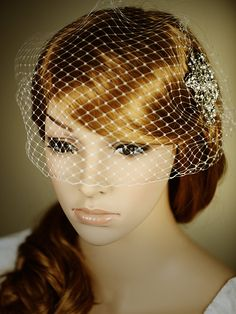 Classic Birdcage Veil, French Veiling, Wedding Bridal Veil, Bridal Bandeau, Vintage Style Wedding Bird Cage Veil, Avail. in White or Ivory -. $35.00, via Etsy.